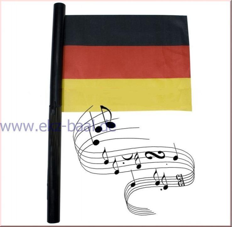 NEU Deutschlandfahne mit Hymne und Stab