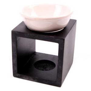 NEU Holzwürfel Duftlampe mit Keramikteller