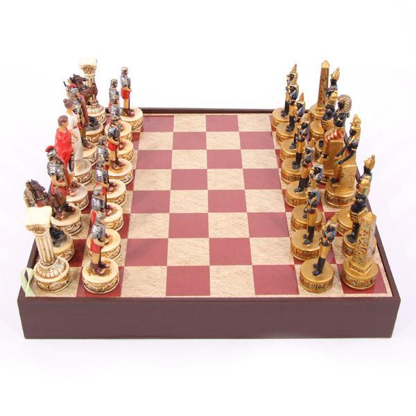 Schachset Römer gegen Ägypter mit Holzbr