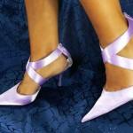 Grosshandel Luxus Stiletto Seiden Sling Schuhe Pumps C14