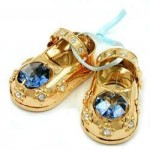 1 Paar Babyschuhe, mit Glas-Steinen