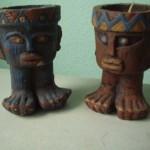 6 Schmuckkerzen Maya / Inka Figuren handbemalt Großhandel
