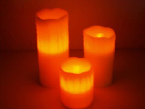 3 tlg. Led Echtwachs Kerzen-Set