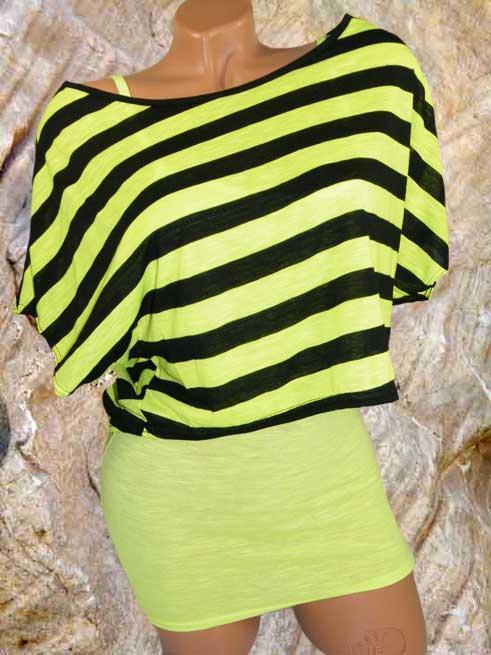 Shirt Streifen Fledermausshirt mit Top 2 Teiler