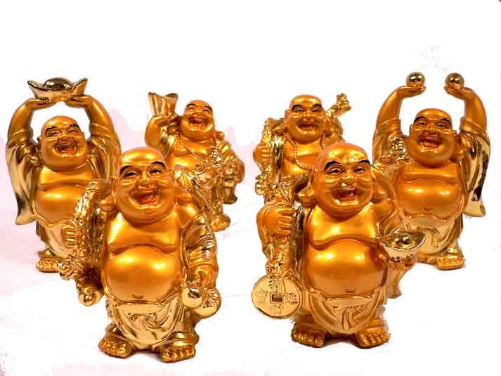 Deko Budha Figuren im 6 er Set Groß in Gold Nr 03