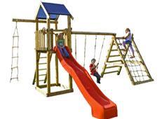 Spielturm XL Kletterturm mit Schaukel, Kletterwand, Netz u. Rutsche