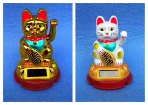 Solar Winkekatze Maneki Neko Katze 12cm