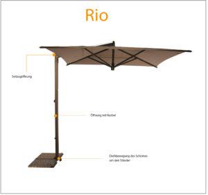 Ampelschirm RIO quadratisch 300 x 300 cm