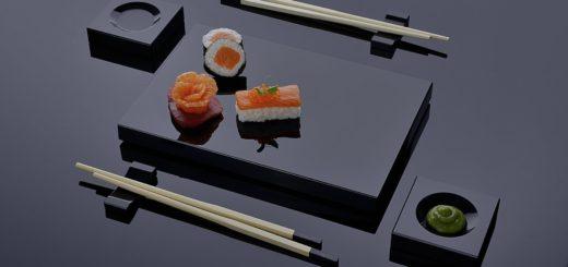 Großer Posten Schwarz Silber  Geschirr-Sets für die Japanische Küche Sushi - 500 Set´s / Stück