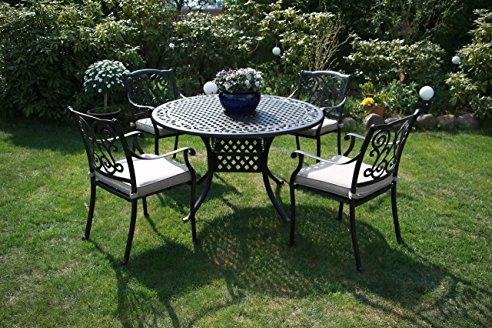Gartenmöbel IVO: Garnitur:Tisch+4 Stühle Stahl/Alu