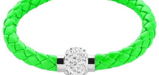Kristallstein Neon Leder Armband - Armbänder