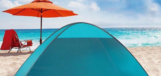 Strandmuschel mit Sonnenschutz