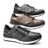 Damen Freizeit Sport Schuhe Sneaker Glitzer