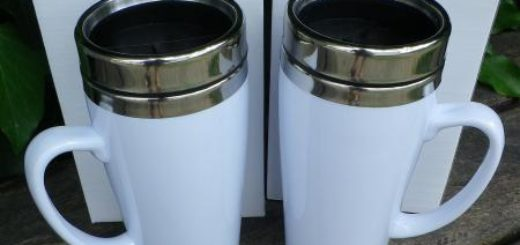 Trinkbecher Tasse mit Deckel Isolierbecher weiß 0,4 Liter