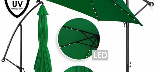 Kesser® Alu Ampelschirm LED Solar ✔ Ø350cm ✔+ Abdeckung ✔ mit Kurbelvorrichtung ✔ UV-Schutz