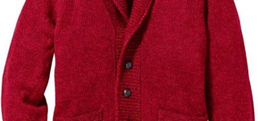 Herren Strickjacke Cardigan rot Regular Fit Bekleidung