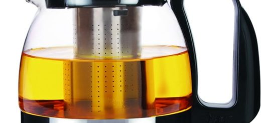 Glas Teekanne 1250 ml schwarz / silber