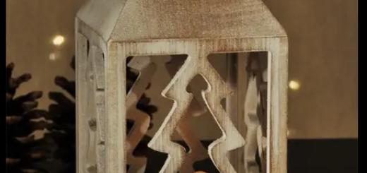 Holzlaterne mit LED Kerze