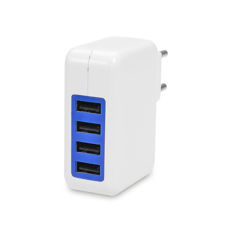 Reise-Netzteil mit 4x USB-Anschlüssen, 240 Volt EU-Stecker