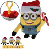 Plüsch Minions Weihnachten mit Karabinerhaken 16 cm, mit Weihnachtsmütze