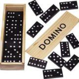 Holz Domino Spiel in Natur Holzbox, Gesellschaftsspiele ab 1 Euro