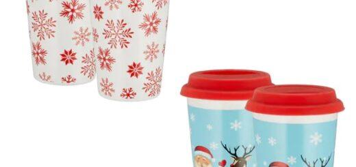 Porzellan Becher Coffee to Go Weihnacht, Kaffeebecher, Glühweintasse